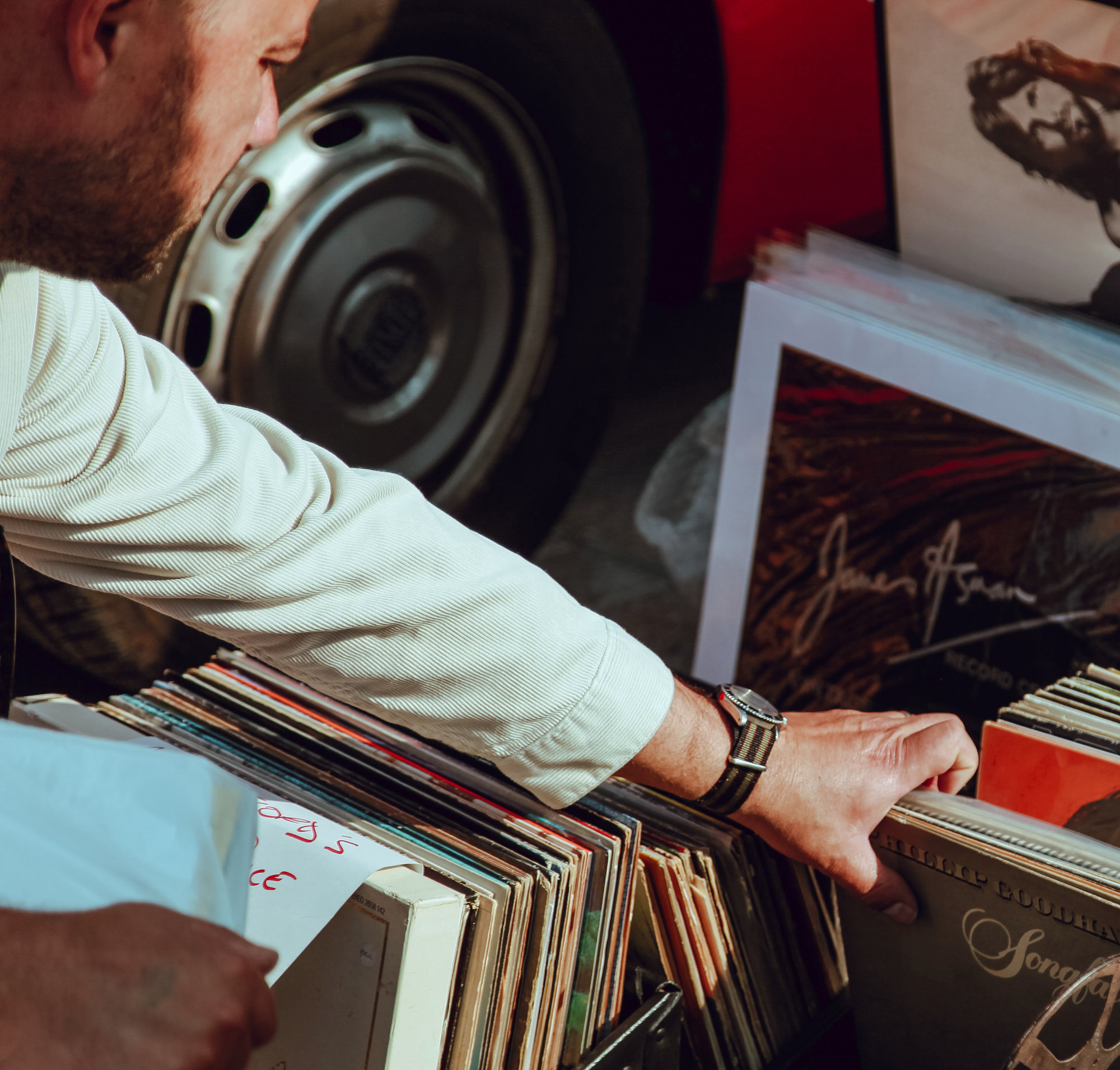 Man searching through vinyl records
