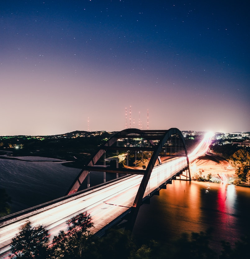 Austin Texas Percy v. Pennybacker Bridge at Night
