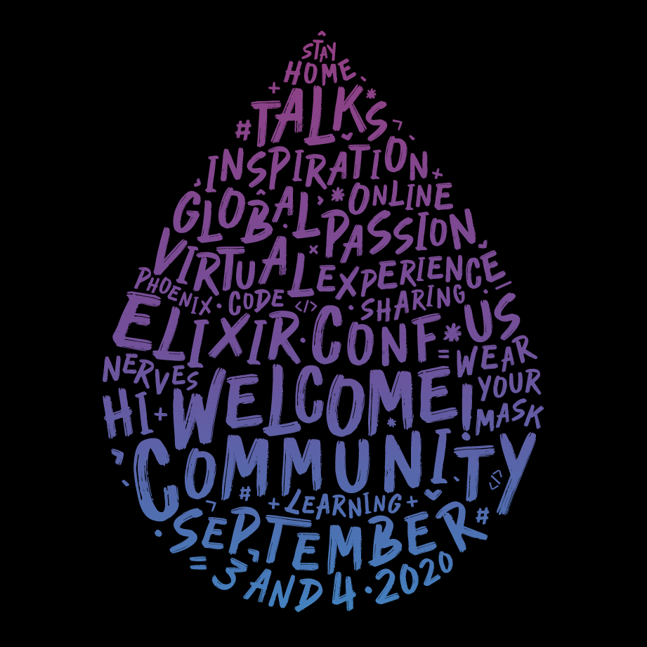 "Elixir Logo comprised of words, including ""stay home,"" ""community,"" and ""learning"""