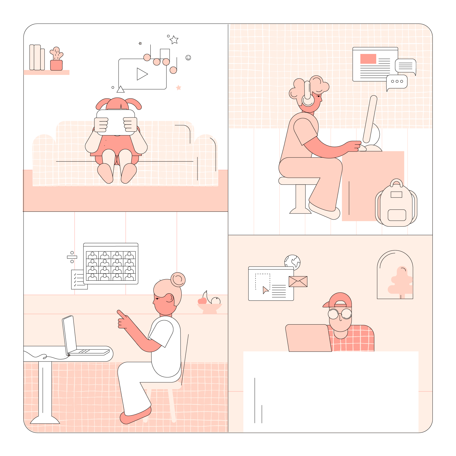 Illustration of parents, teachers, and students at home on computers