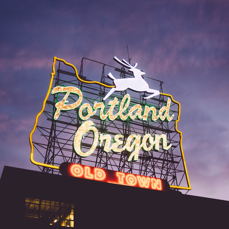 "Portland Oregon ""Old Town"" Neon Sign"