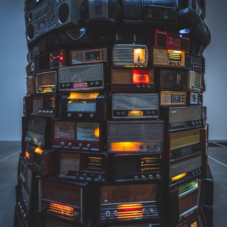 Tower of assorted radios