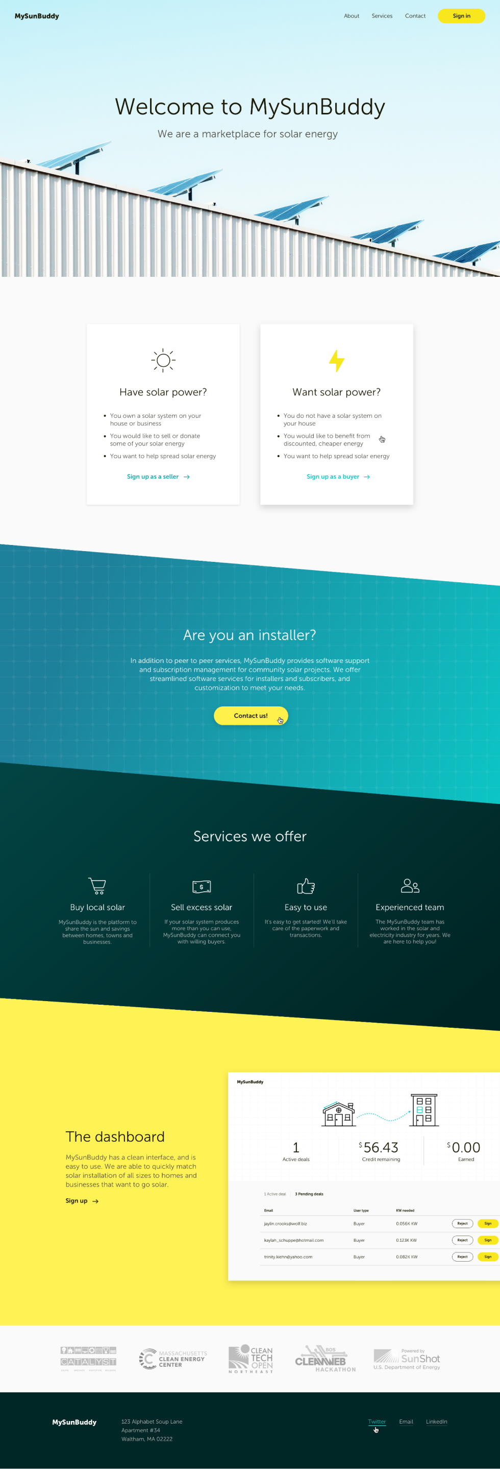 Home page interface