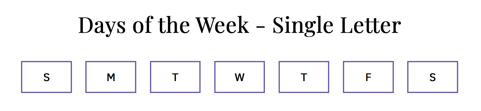 day of the week selector in English using narrow names