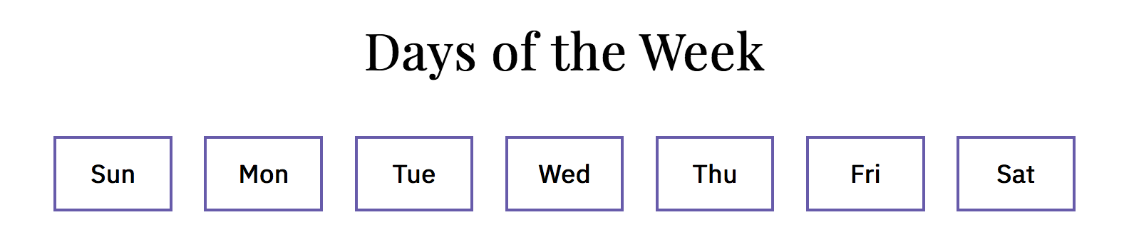 day of the week selector in English using short names