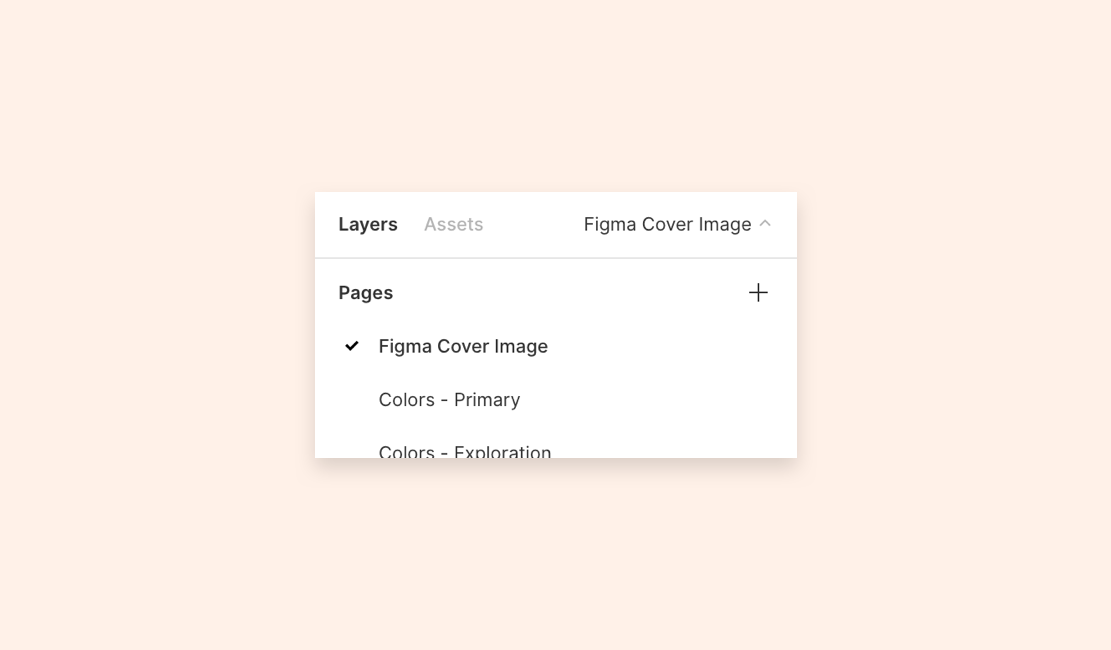 A text list of Pages in the Figma project, with the Figma Cover Image at the top