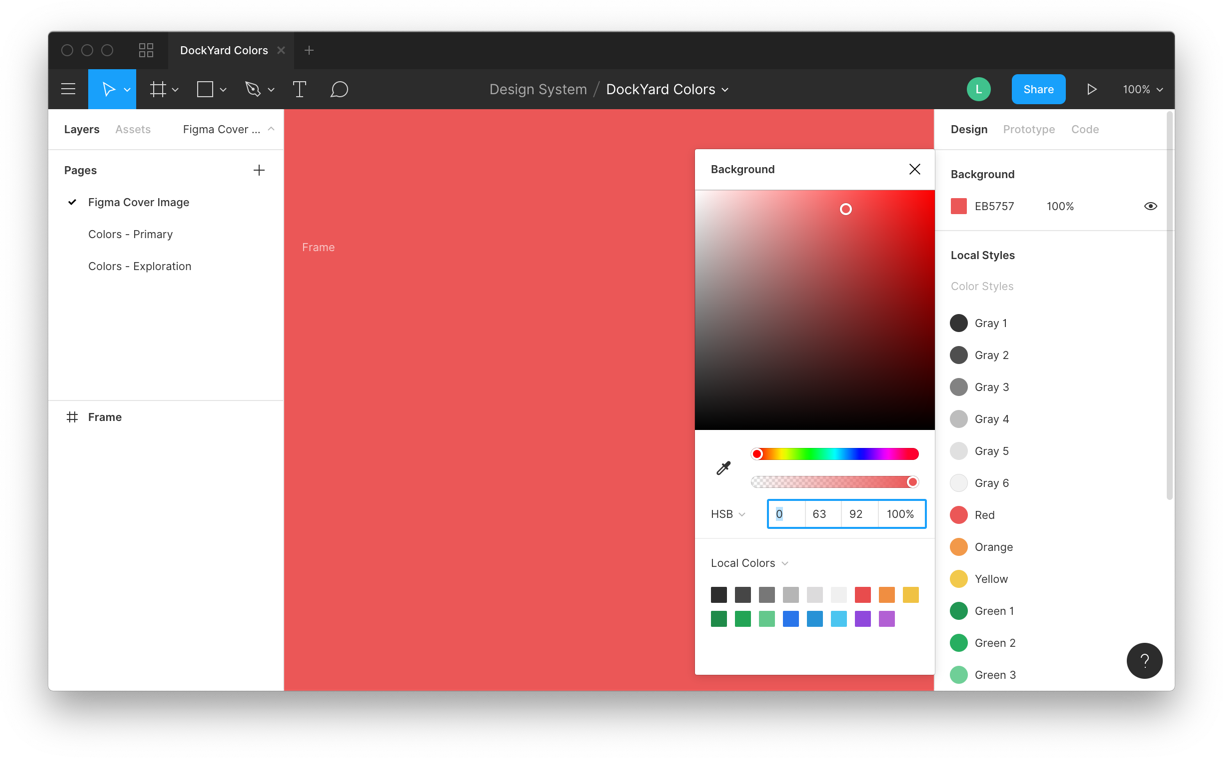 Using the color picker to change the background color of the canvas