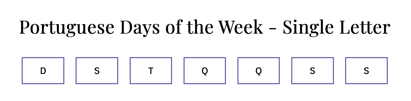 day of the week selector in Portuguese using narrow names