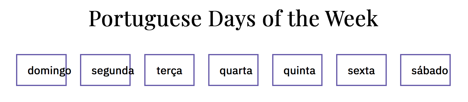 day of the week selector in Portuguese using short names