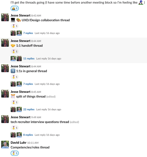 Examples of organized Slack threads with emojis to mark completed conversations